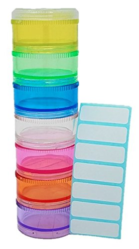 - Tesadorz Plastic Stackable 7 Day Small Twist Top Pill Organizer with Labels for Containers