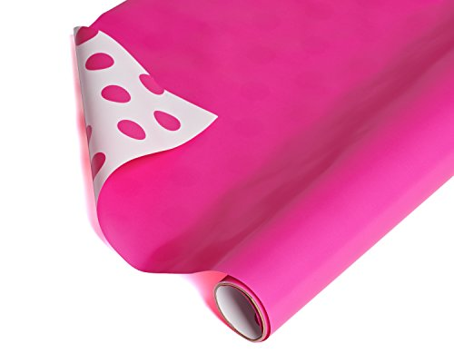 American Greetings Reversible Wrapping Paper, White and Pink Polka Dots, 2.5 ft. x 12 ft. ()