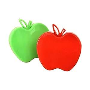 Antique Portable Travel Folding Apple-Shaped Stainless Steel Carrot Potato Fruit and Vegetable Peeler, Apple Peeler (2pcs) Green/Red