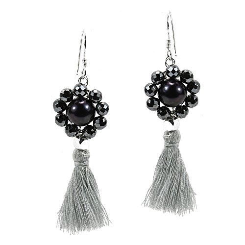 Smoky Couture Cultured Freshwater Black Pearl Tassel Drop .925 Sterling Silver Dangle Earrings