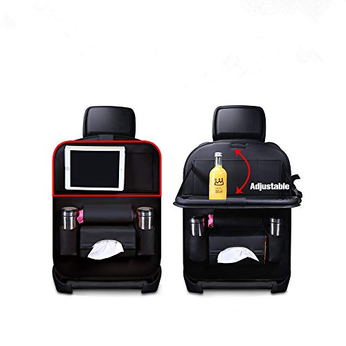 Jiadi Si Car Seat Protector + Backseat Organizer, Table Tray, Foldable Dining Table with iPad and Tablet Holder, Travel Accessories Organizer ()