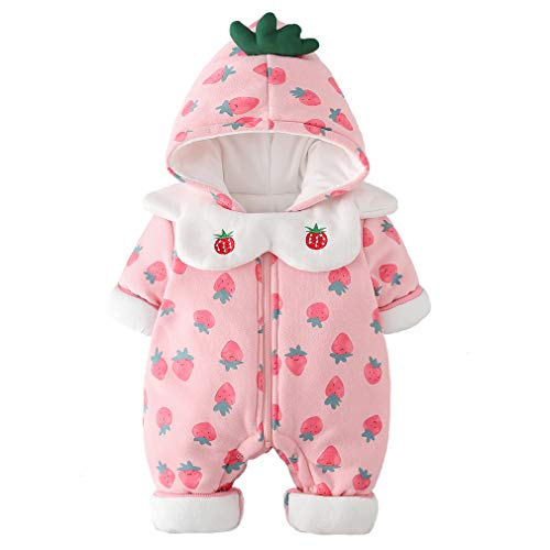 1ff9863f0 M·Y star of the black Baby Girl Hooded Puffer Romper Thicken Fleece Lined  Snowsuit