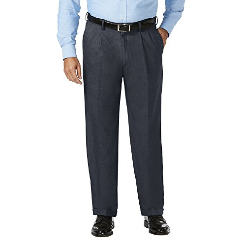 Haggar Men's Big and Tall J.m Expandable Waist Classic Fit Pleat Front Pant, Dark Navy, (Classic Fit Suit Pant)