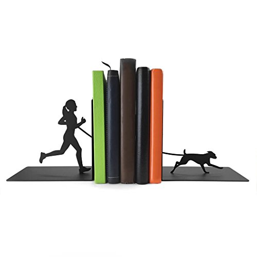 Bookends Fun (Gone For a Run Running Metal Bookends | Decorative | Nonskid | Runner Girl With Dog | Fun Room Decor for Runners)