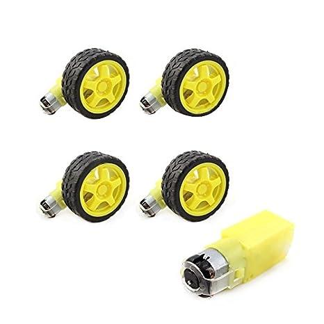 Amazon.com: TOOGOO 4 Pcs for Arduino Smart Car Robot Plastic Tire Wheel with DC 3-6V Gear Motor: Toys & Games
