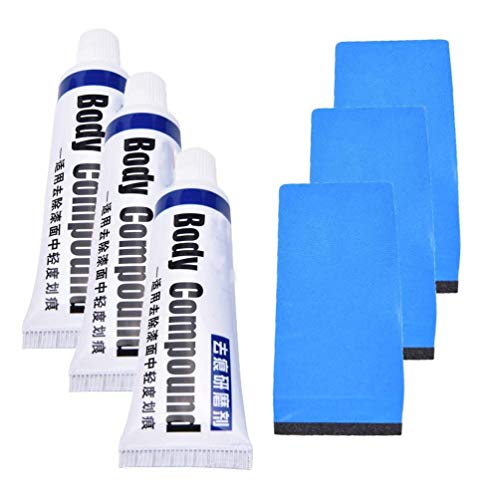 (IYSHOUGONG 3 Set Car Body Compound Scratch Remover Set Car Scratch Repair Kits Polishing Grinding Paste Paint White)