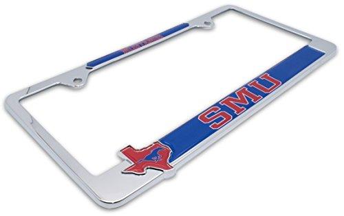 (AMG Premium NCAA SMU Mustangs Mascot License Plate Frame w/Texas Shaped insert)