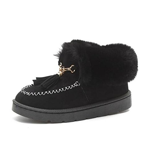ZHZNVX HSXZ Zapatos de Mujer Tejido de Poliamida Primavera Otoño lanilla Forro Polar Botas Botas de Nieve Plana/Botines Botas de Tobillo for Casual Gris Negro,Negro,US8.5/UE39/UK6.5/CN40 39 EU
