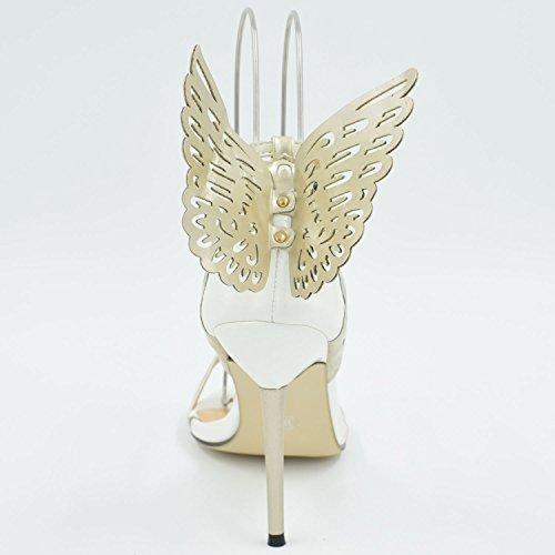 Oasap Mujer High Heel Zapatos Estiletes Hebilla-Tobillo Adorno Mariposa Márfil