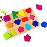 SKYFIELD Wooden Shape Puzzles, Vibrant Color Puzzles for Toddlers 1 2 3 Years, Preschool Boys & Girls Educational Learning Toys, Sturdy Wooden Construction , 13.4'' L x 9.8'' W (Shape Puzzle)
