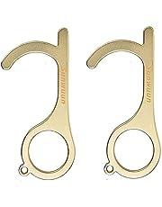 Sunwuun 2 st icke-kontakt dörröppnare, inget knappverktyg, återanvändbara handtagsverktyg, bärbar handpinne för hiss knapptryck, hälsoskydd (gul)