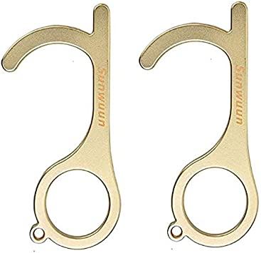 No-Touch EDC Brass Door Opener Handheld Non-Contact Door Opener Reusable Avoid Direct Touch Tool Keep Hand Clean Portable Stylus Keychain Tool