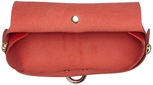 CTM Clutch bandolera para mujer, pequeno bolso con cinturon de hombro, piel genuina hecho en Italia - 18x11x9 Cm Rojo (Rosso)