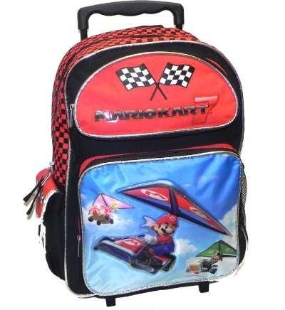 Large Rolling Backpack - Nintendo - Mario New School Bag Book Boys nn10839 B008Y89R3G