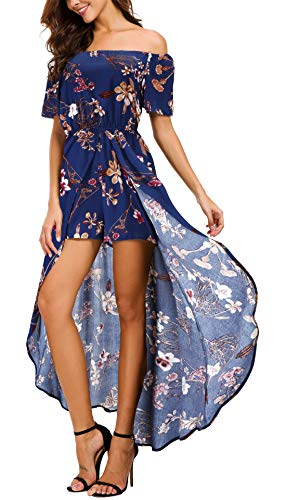 KorMei Womens Off Shoulder Short Sleeeve Floral Rayon Party Split Maxi Romper Dress XL Off Shoulder-Blue (Rompers Dresses For Women)