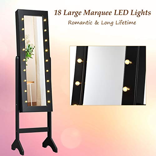 Giantex Standing Jewelry Armoire with 18 LED Lights Around The Door, Large Storage Mirrored Jewelry Cabinet with Full Length Mirror, 16 Lipstick Holder, 1 Inside Makeup Mirror (Black)