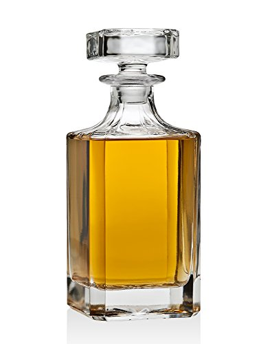 (Whiskey Decanter for Liquor Scotch Bourbon or Wine, Non Leaded Crystal - 750ml)