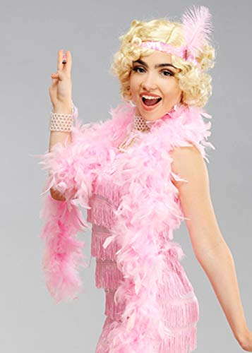 Delights 1920s Fancy Dress Baby Pink Feather Boa