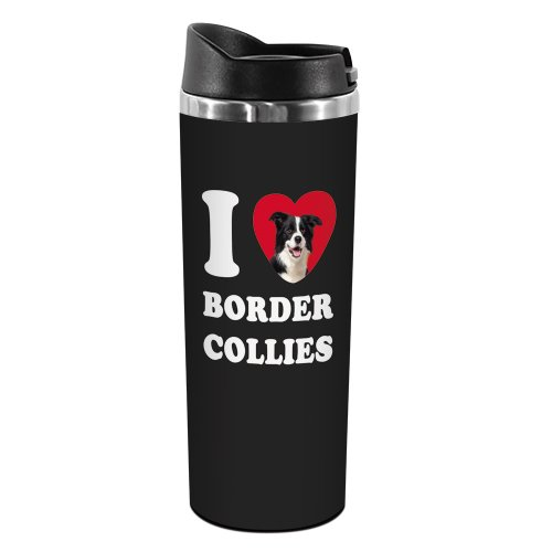 Tree-Free Greetings TT42013 I Heart Border Collies 18-8 Double Wall Stainless Artful Tumbler, 14-Ounce