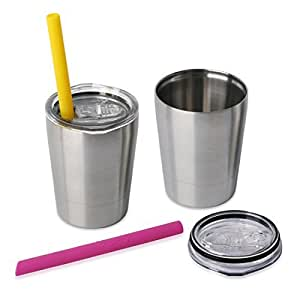 Housavvy 2 Pack Kids Stainless Steel Cups with Lids and Straws - Silver