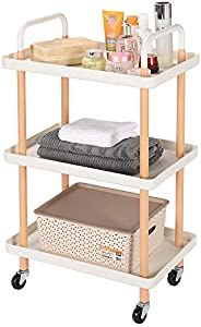 SortWise 3-Tier Rolling Utility Cart Shelf with Handle & Wheels, Spa Salon Storage Trolley Cart Wooden Mobile