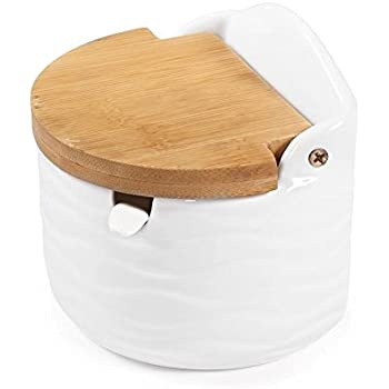 Sugar Bowl, 77L Ceramic Sugar Bowl With Sugar Spoon And Bamboo Lid For Home  And