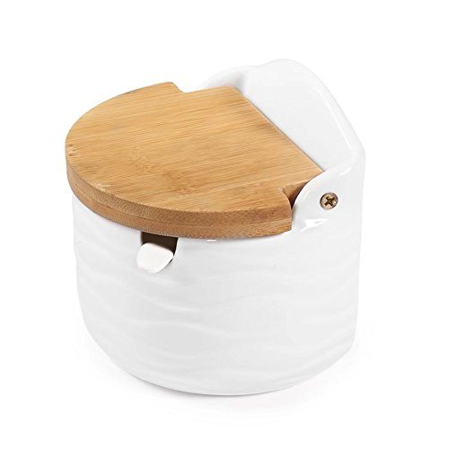 77L Sugar Bowl, Ceramic Sugar Bowl with Sugar Spoon and Bamboo Lid for Home and Kitchen - Modern Design, White, 8.4 FL OZ (250 ML) - Microwave Safe Porcelain Salt And Pepper Set