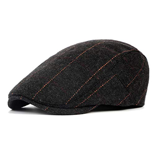 LANLEO Men's Herringbone Wool Tweed Gatsby Newsboy Hat Flat Lvy Cabbie Driving Golf Cap (Black)