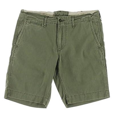 Hot Denim & Supply Ralph Lauren Mens Twill Flat Front Khaki, Chino Shorts Green 34 for sale