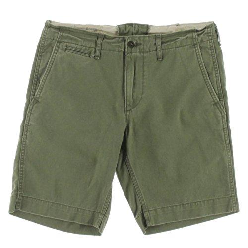 Denim & Supply Ralph Lauren Mens Twill Flat Front Khaki, Chino Shorts Green 29 (Ralph Khaki Lauren Green)