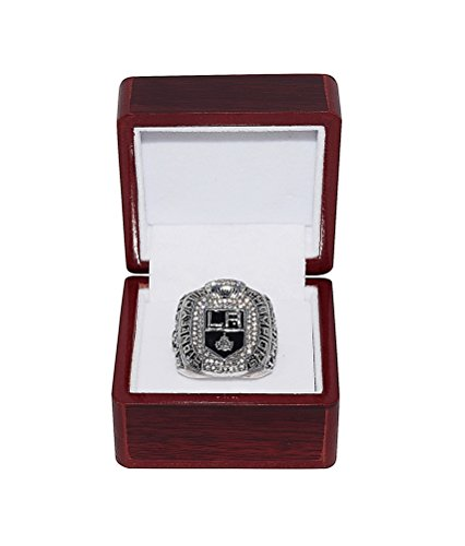 LOS ANGELES KINGS (Anze Kopitar) 2012 STANLEY CUP PLAYOFFS WORLD CHAMPIONS (LA Kings) Rare & Collectible Replica National Hockey League Silver NHL Championship Ring with Cherrywood Display -
