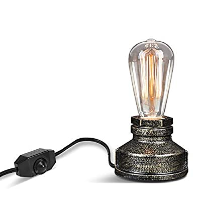 Vintage Table Lamp,Ambimall Antique Small Industrial Desk Lamp with Dimmer Switch,Steampunk Accent Lamp with E26 Edison Base Decoration for Bedroom/Living Room(No Bulb Included)