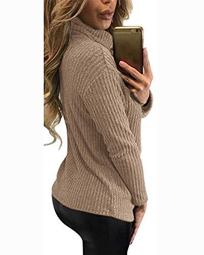 T petit V couleur et à Zhrui kaki longues décontracté manches à Chic de shirt en col Pullouver modèle Casual SZdqdxTY