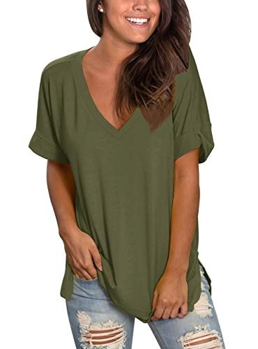 Topstype Womens Summer Short Sleeve T Shirts V Neck Tunic Roll Up Tops Cute Tees Loose Fitted Henley Workout Shirts (XX-Large, A-Army Green)