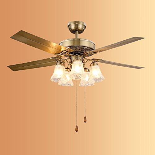 Luxury Fan Chandeliers European Restaurant Ceiling Fan Lights Iron Leaves And Wood Leaves 5 Head LED Glass Cover Fan Lights ( Color : B -(cable switch) ) by Cang teacher (Image #3)