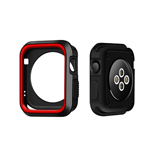 Morenitor for Apple Watch Case, 42mm Double Color Soft Silicone TPU Bumper Plating Protective Cover Case for Apple Watch iWatch Series 2 3 (Black and Red - 42 mm) by Morenitor (Image #7)