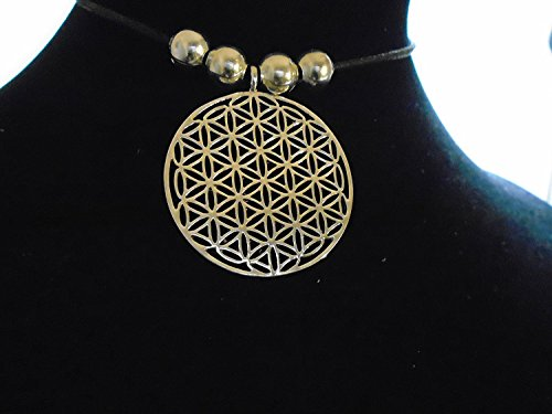 (925 silver plated Flower of Life Pendant Reki Sacred Egyptian Geometry, vibratory effect, ancient metaphysica energy / w/ silver beads on adjustable 83 cm choker necklace , new with tag, made in USA)