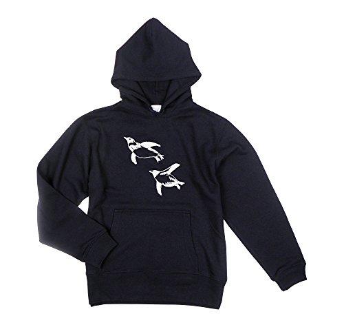 軽量甘味フォーカス【choco-rail】 プルパーカー 泳ぐペンギン ネイビー ユニセックスS/M/L/XL (L)