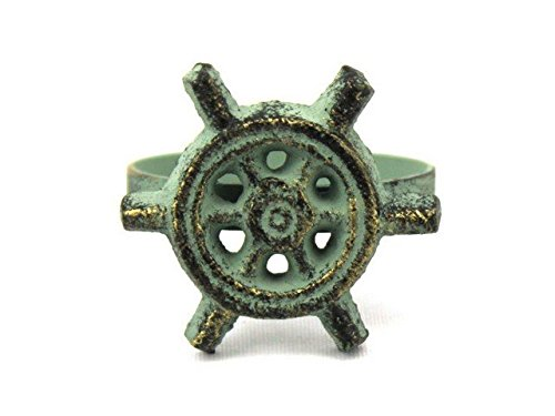 Handcrafted Decor K-1307-bronze Antique Bronze Cast Iron Ship Wheel Napkin Ring44; 2 in. - Set of 2