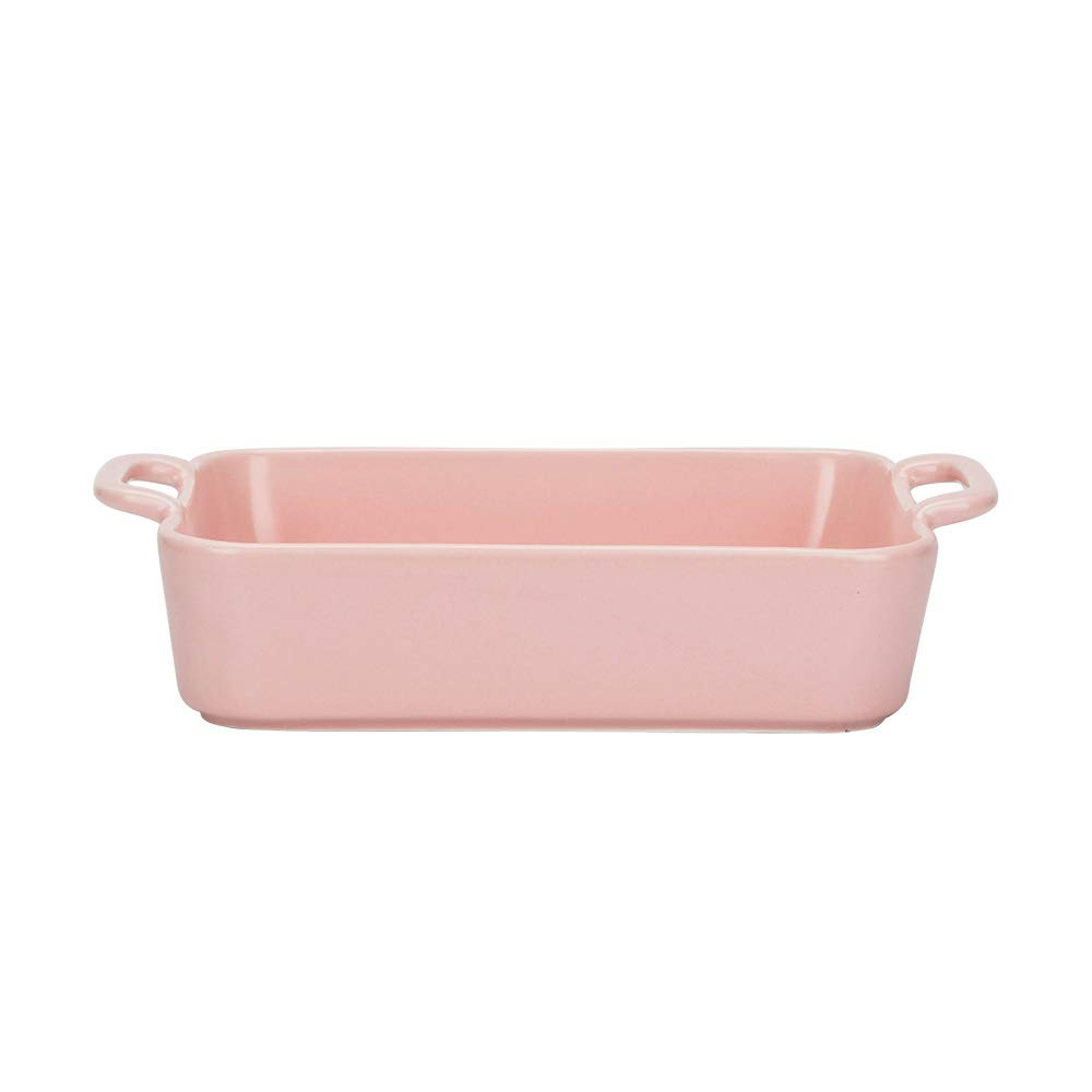 Ceramic Glaze Baking Dish for Oven Individual Roasting Lasagna Pan Small Casserole Bakeware with Handle Rectangular Dish, Pink