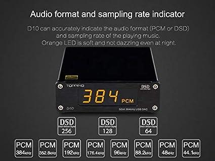 Black TOPPING D10 Decoder DSD256 ES9018K2M XMOS PCM384 USB DAC Audio Decoder