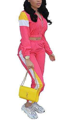 VOIKERDR Women 2 Piece Outfits Tracksuit Jumpsuits Lightweight Windbreaker Pullover Jacket Crop Top Pants Set