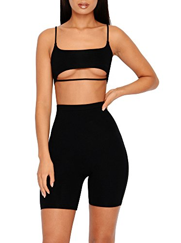 Ivay Womens Strap Cut Out Tracksuit 2 Piece Outfits Sexy Crop Tops and Skinny Long Pants Jumpsuit