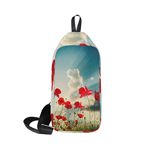 amp; Red Sling Chest Poppy For Cross Bennigiry Men Women Backpack Shoulder Waterproof Bag Small Body 5tOaWSqa