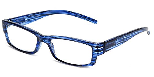Calabria 757 Reading Glasses w/ Striped Designs & Matching Case in Blueberry - Reading Glasses 4.5