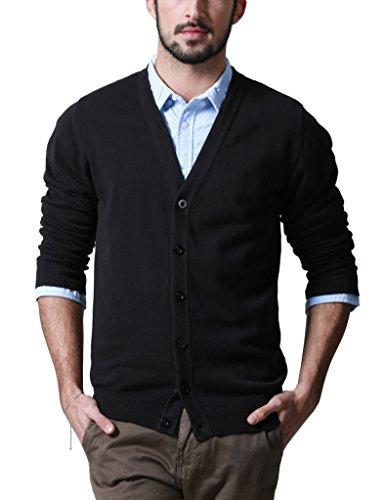 Match Men's Sweater Series V-Neck Button Up Cardigan #Z1522(US S (Tag size L),Z1522 Black)