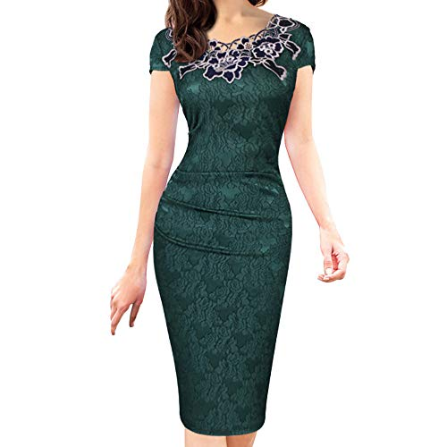 Dress in Spanish, Plus Size Hollow Lace Dresses Rose, Solid Short Sleeve Daily Work O-Neck Zipper Dress, Women U-Back Lace Wedding Long Bridesmaid Dress Evening Party Gown Green XL ()