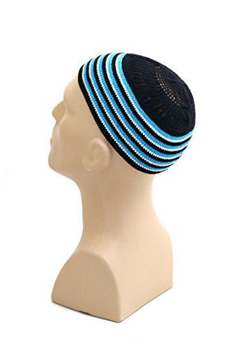 Stretchy Elastic Beanie Kufi Skull Cap Hats Featuring Cool Designs and Stripes - One Size Fits Most (Black w/ White & Blue Bands)