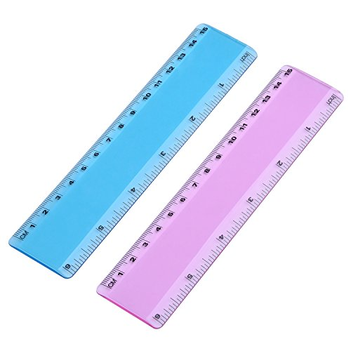 eBoot 6 Inch Plastic Color Ruler Straight Ruler Math Rulers, 2 Pieces, 2 Transparent Colors