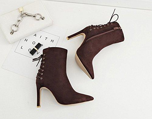 Aisun Damen Elegant Spitz Zehe Schnürung Stiletto High Heel Kurzschaft Stiefel Mit Reißverschluss Braun